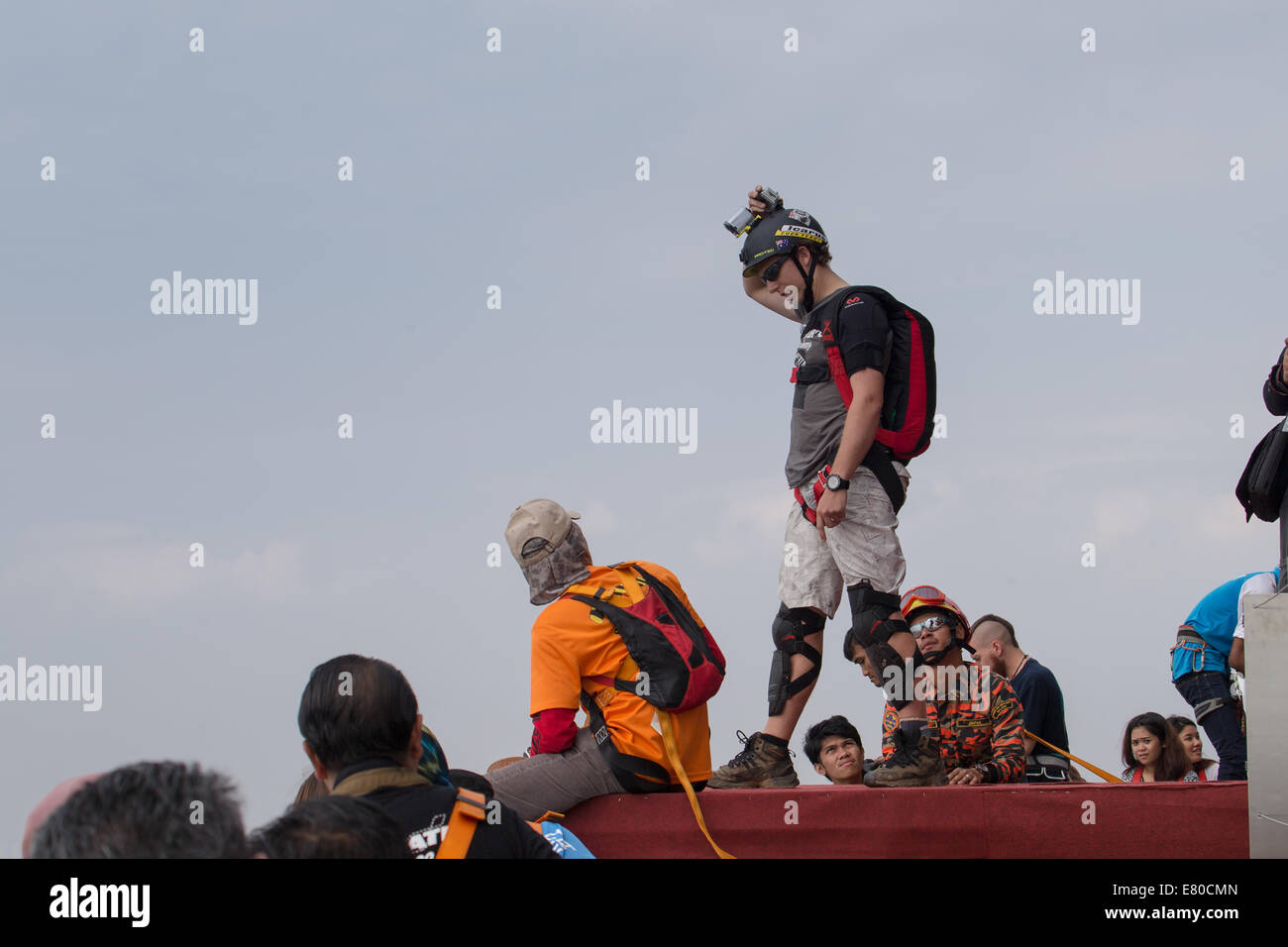 Kuala Lumpur, Malaysia. 27th Sept, 2014. KL Tower BASE Jump 2014 is an annual event of the Kuala Lumpur tower which - Stock Image