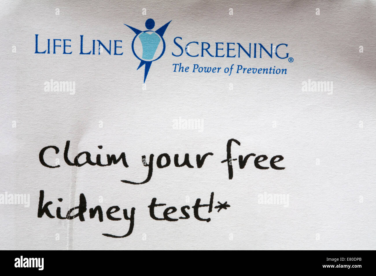 Life Line Screening the power of prevention Claim your free kidney test information on envelope - Stock Image