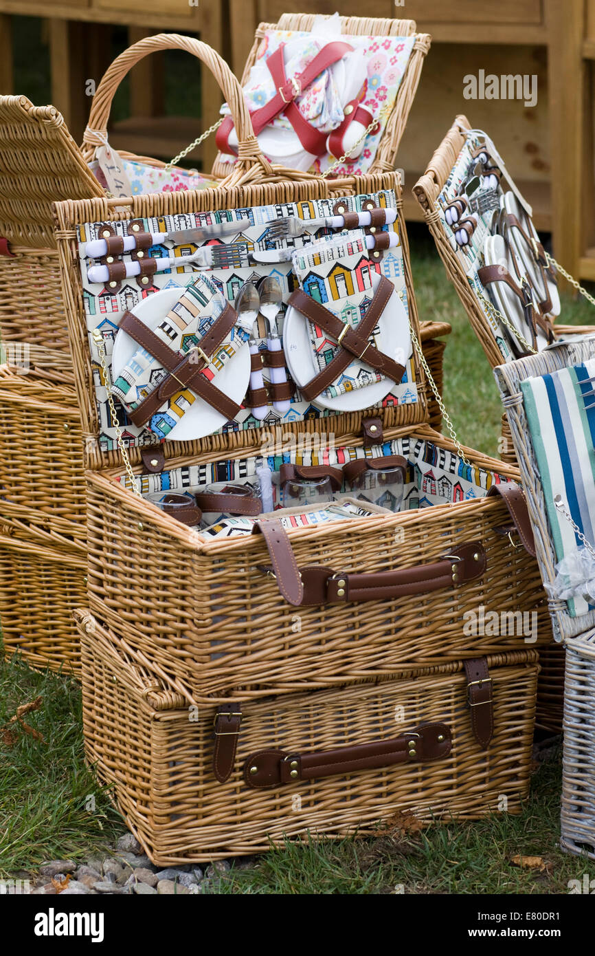 Retro Picnic Hamper And Vintage Wicker Baskets Stock Photo Alamy