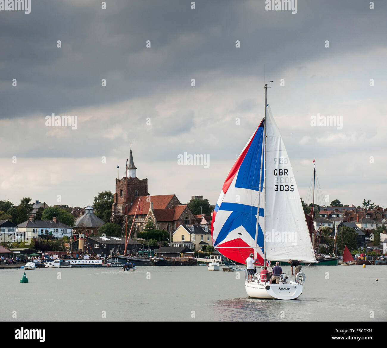 Maldon, UK. 27th September, 2014. A sailboat  participates in the spectacular Parade of Sail at the Maldon Regatta - Stock Image