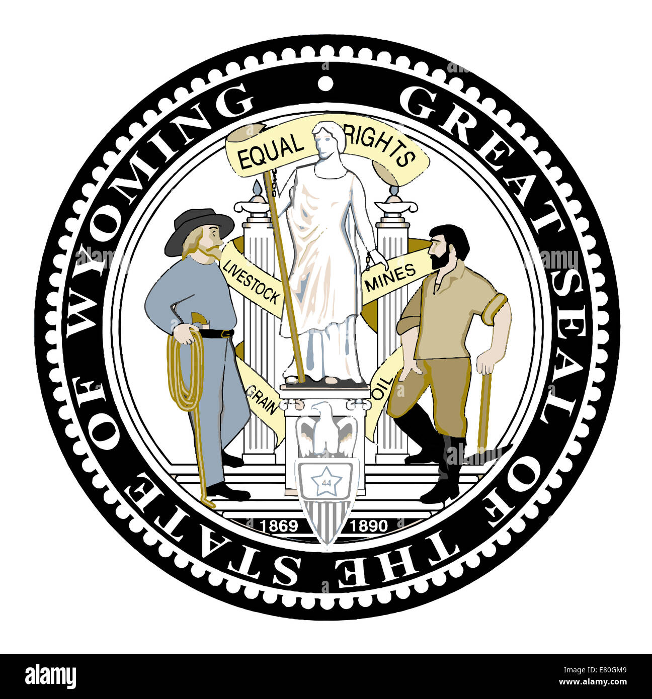The Great Seal of the State of Wyoming over a white background - Stock Image
