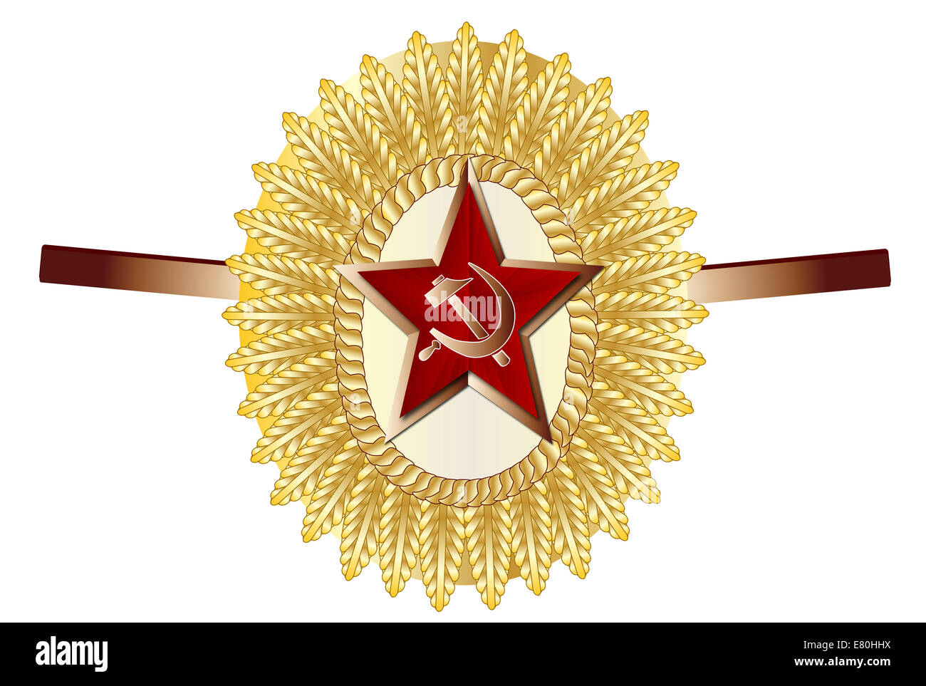 A Russian officer army enamel pin cap badge - Stock Image