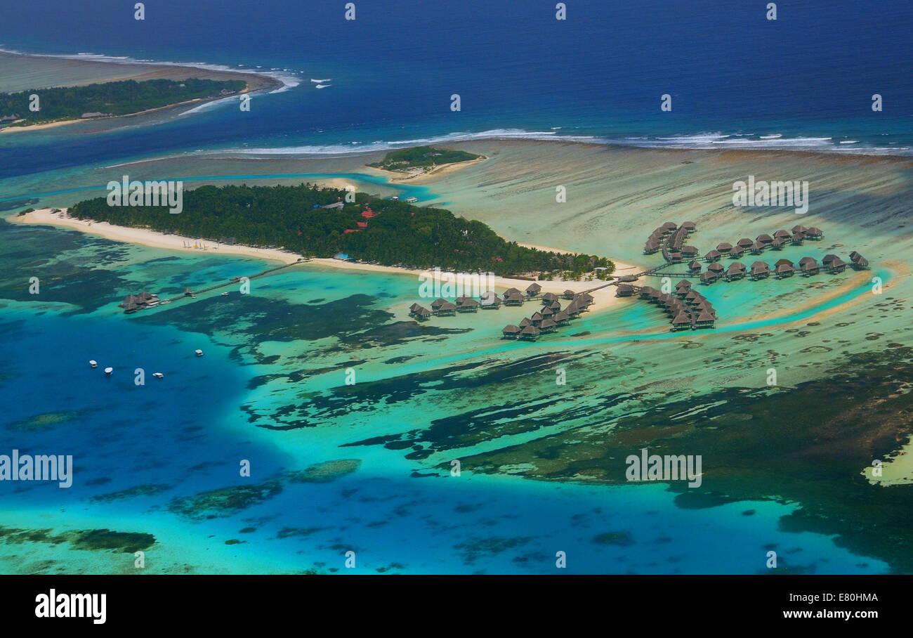 Maldives , view from sea plane - Stock Image