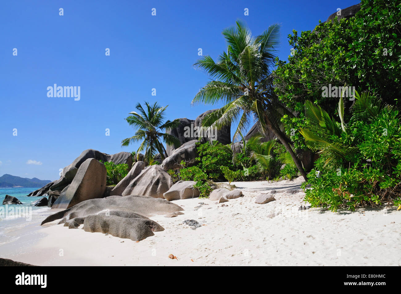 Beach Source d'Argent at Seychelles - Stock Image