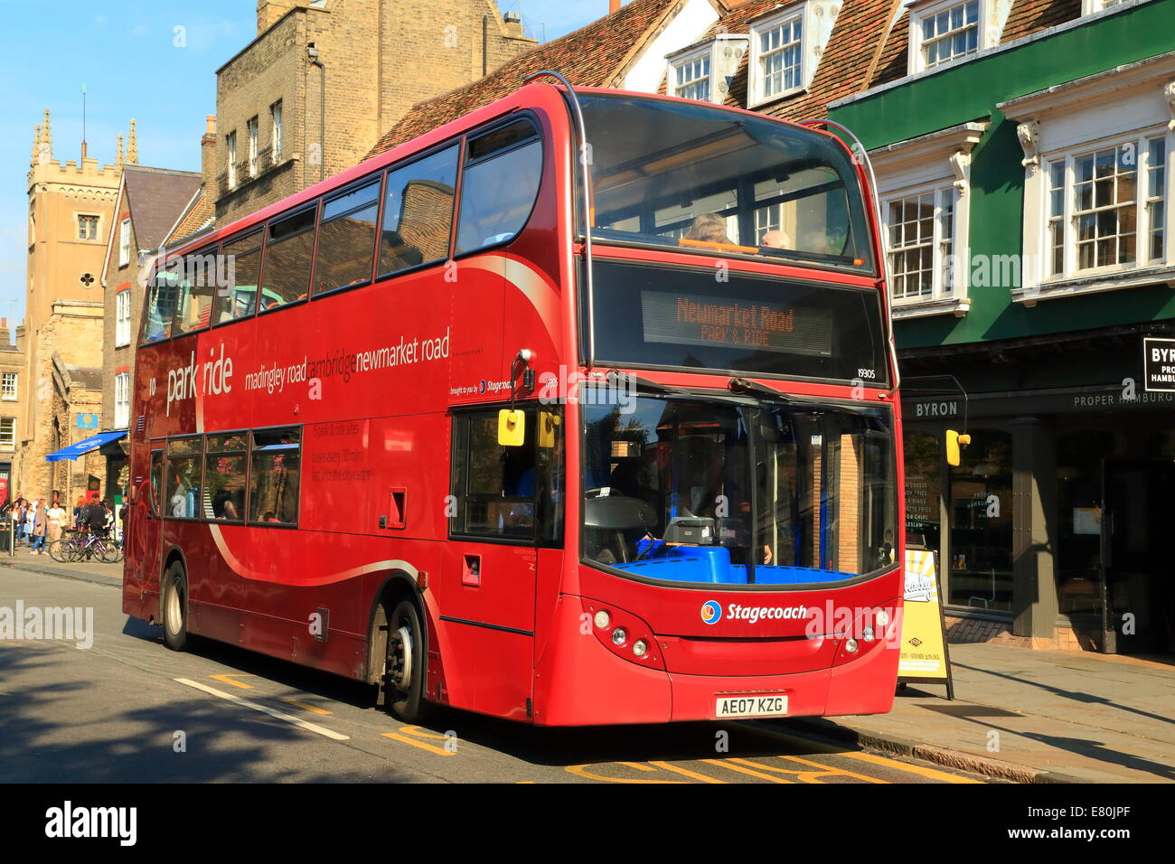Red bus Cambridge, UK - Stock Image
