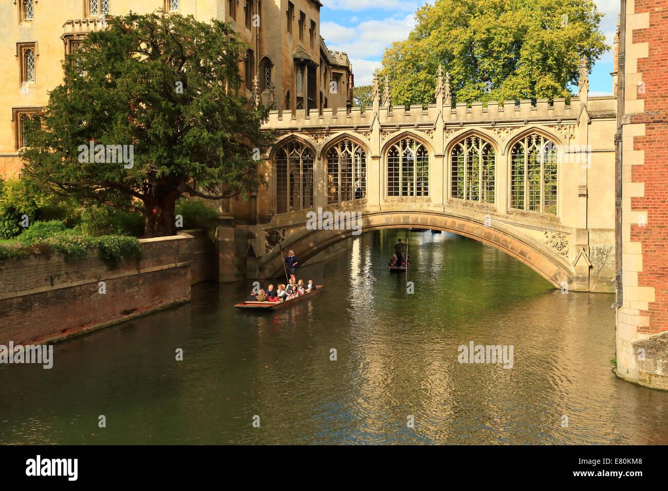 Punting under the Bridge of Sighs, St John's college, Cambridge, UK. - Stock Image