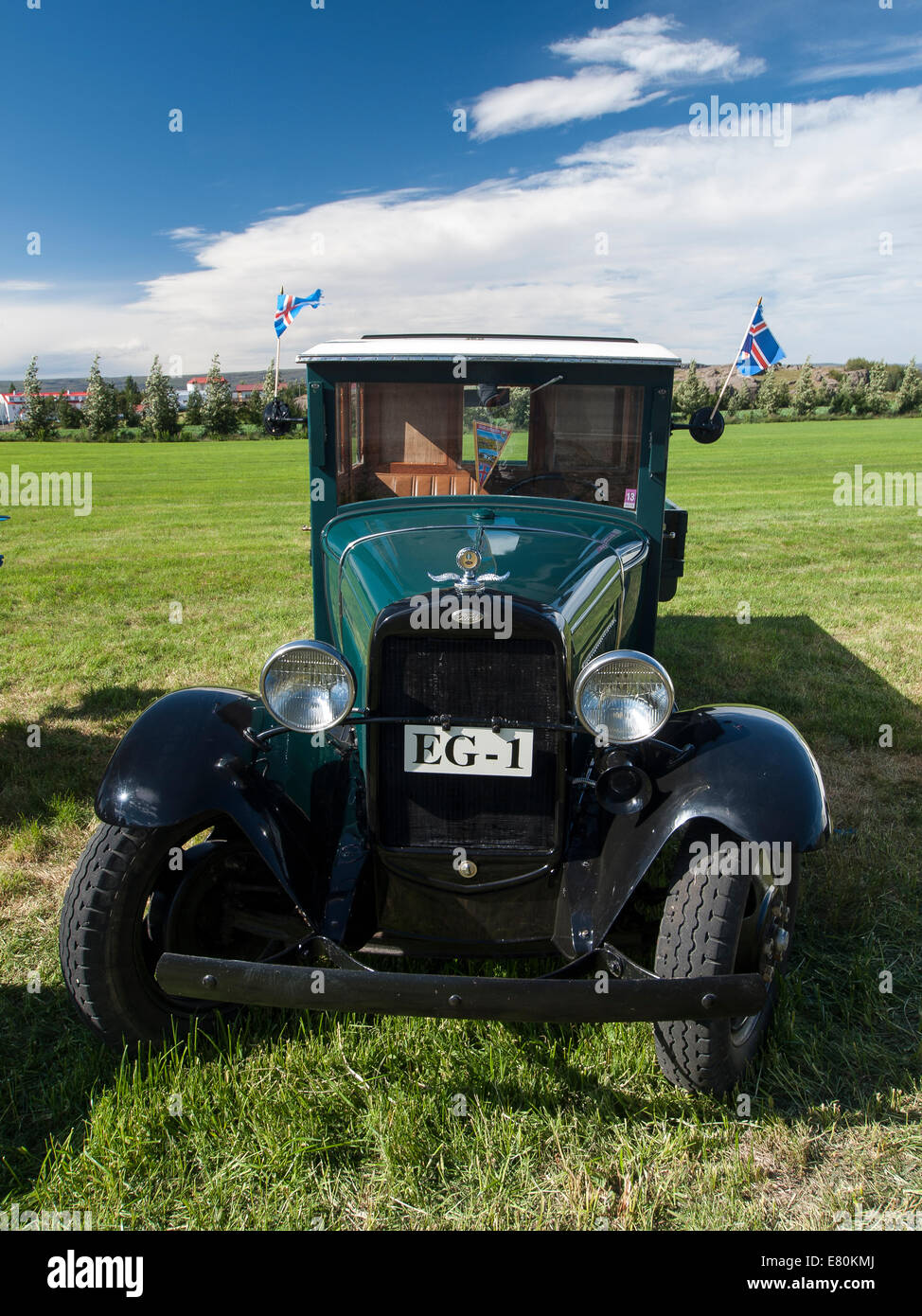 Exhibition of old cars and trucks in Egilsstadir, Iceland, Europe Stock Photo
