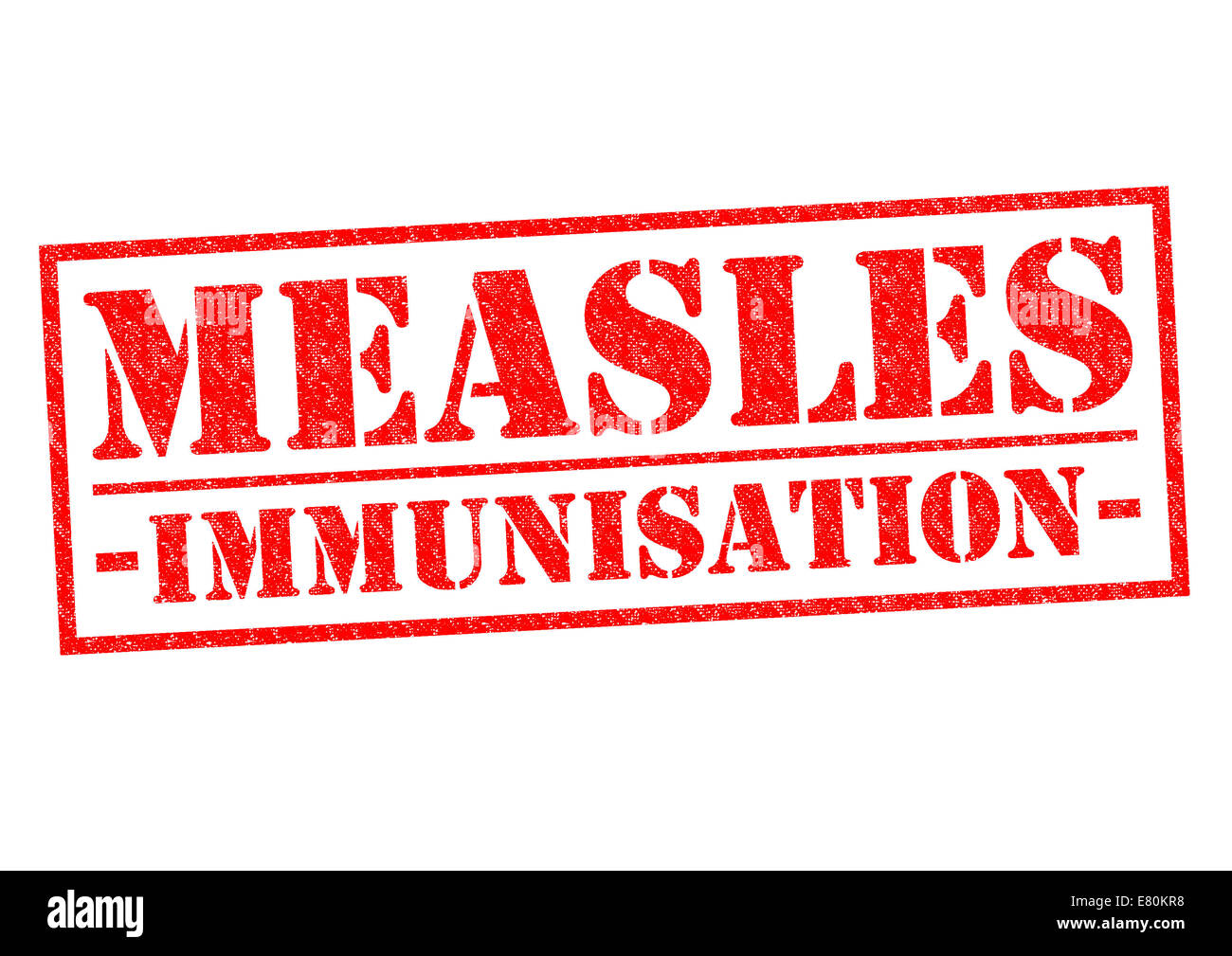 MEASLES IMMUNISATION red Rubber Stamp over a white background. - Stock Image