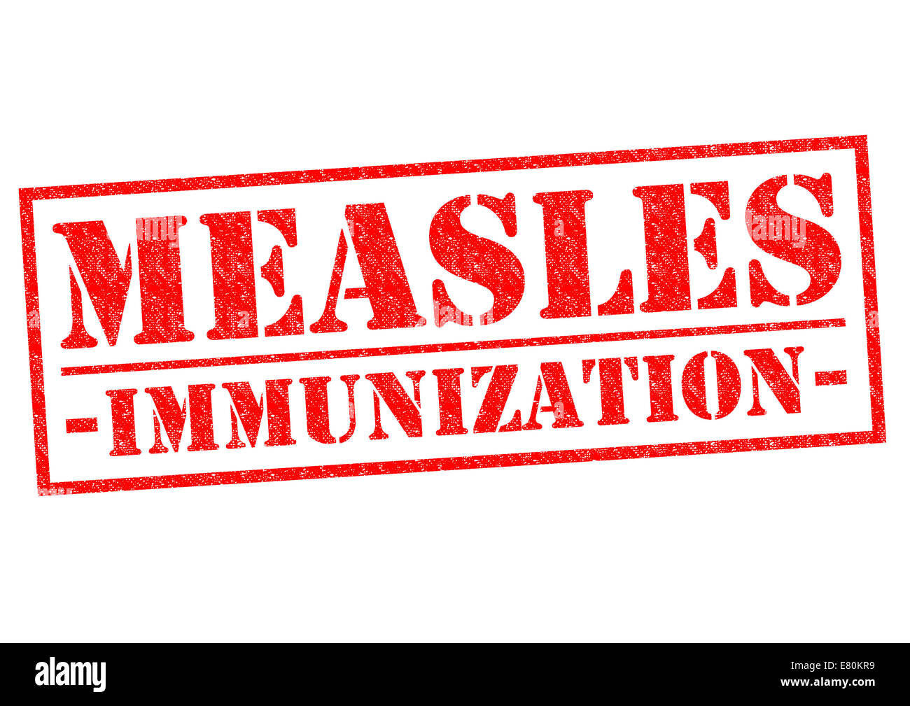 MEASLES IMMUNIZATION red Rubber Stamp over a white background. - Stock Image