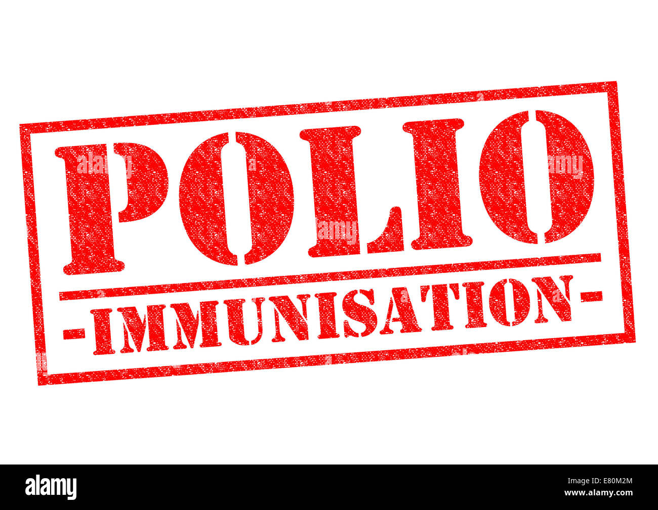 POLIO IMMUNISATION red Rubber Stamp over a white background. - Stock Image