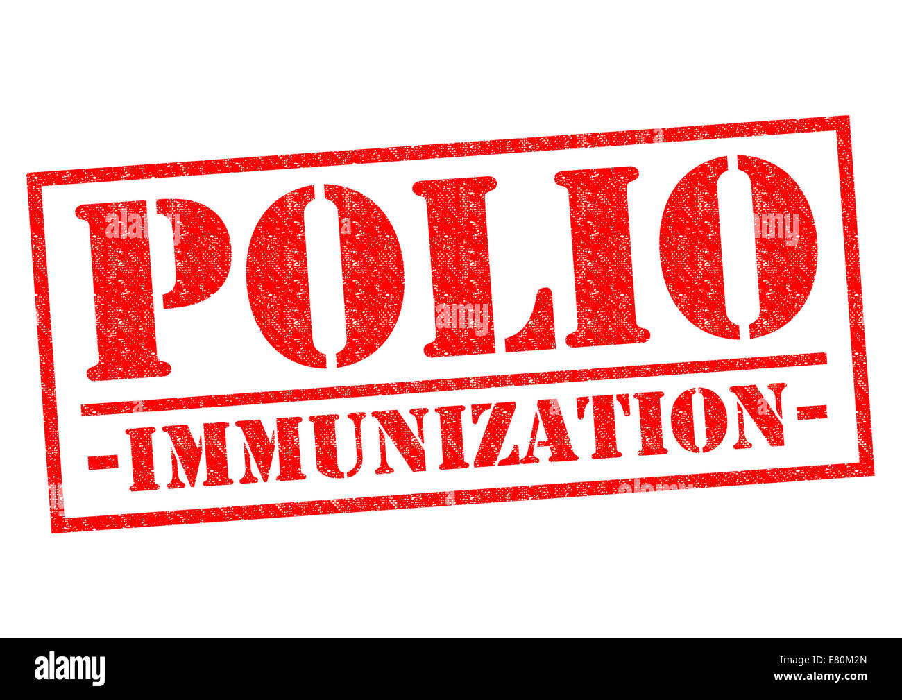 POLIO IMMUNIZATION red Rubber Stamp over a white background. - Stock Image