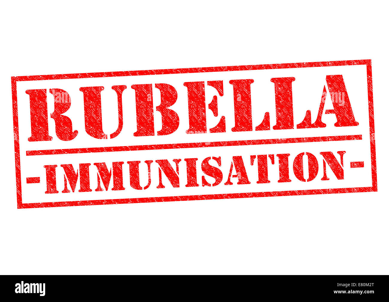 RUBELLA IMMUNISATION red Rubber Stamp over a white background. - Stock Image