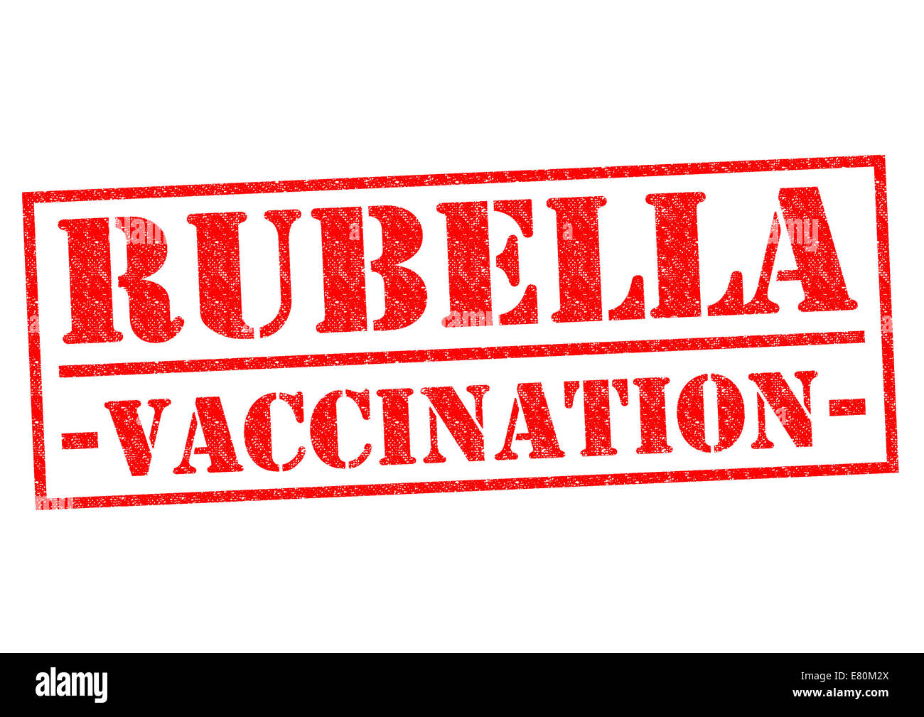 RUBELLA VACCINATION red Rubber Stamp over a white background. - Stock Image