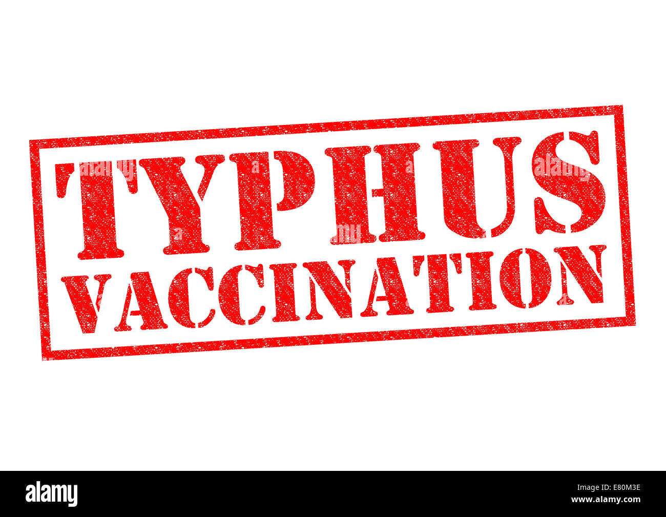 TYPHUS VACCINATION red Rubber Stamp over a white background. Stock Photo