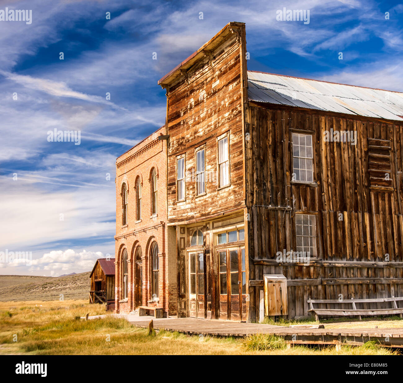 Historic main street buildings in an old west gold rush ghost town of Bodie, California - Stock Image