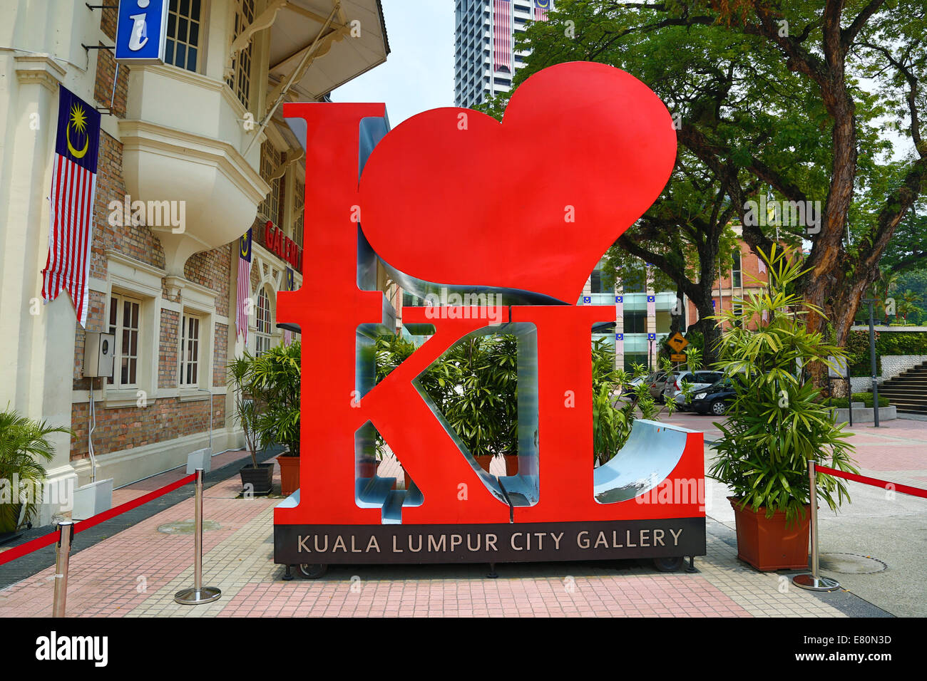 Red heart in the I love KL ststue outside the Kuala Lumpur City Gallery in Kuala Lumpur, Malaysia - Stock Image