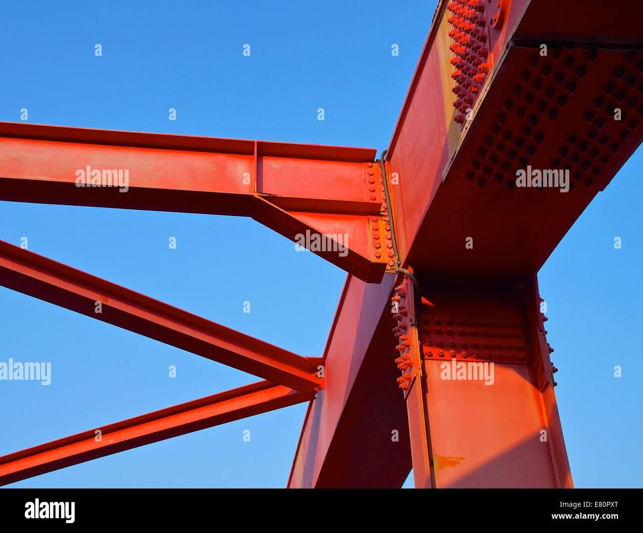 Steel construction of bridge closeup Stock Photo