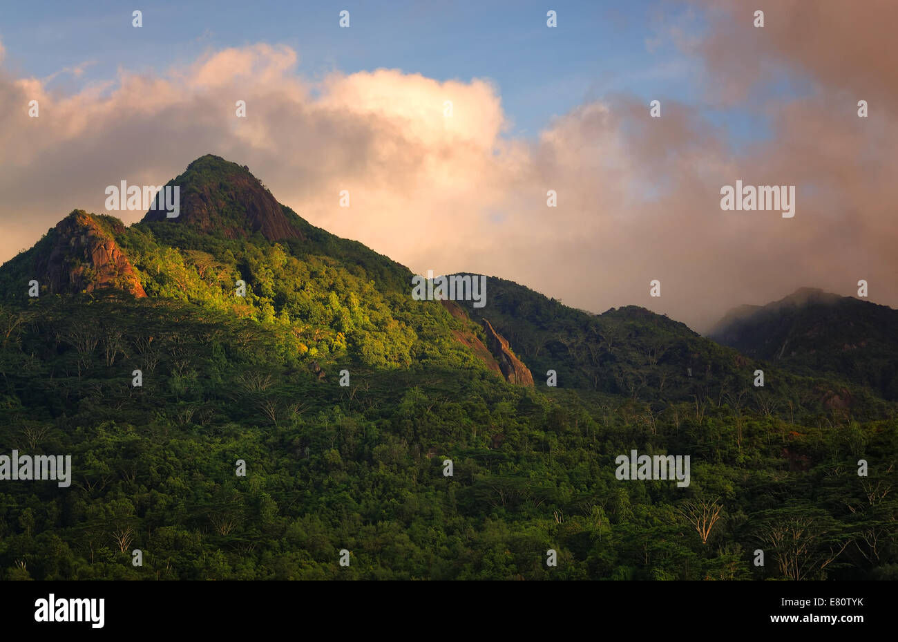 Sunset on the Mahe island, Seychelles - Stock Image