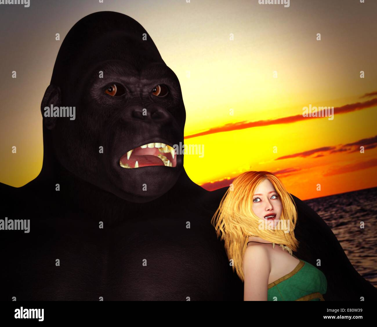 Gigantic monster and blond beauty - Stock Image