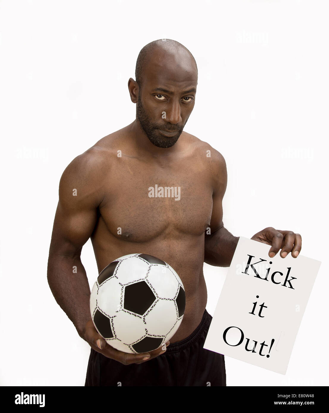 Des Hamilton ex Premier League footballer saying NO to Racism in sport especially football. - Stock Image