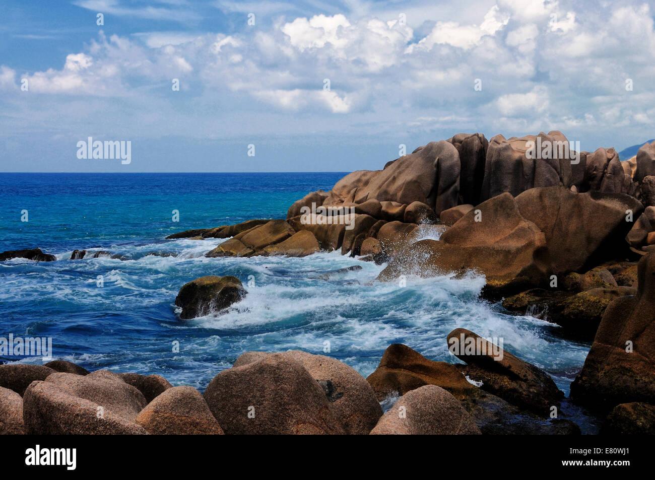 Anse marron , la digue , Seychelles - Stock Image