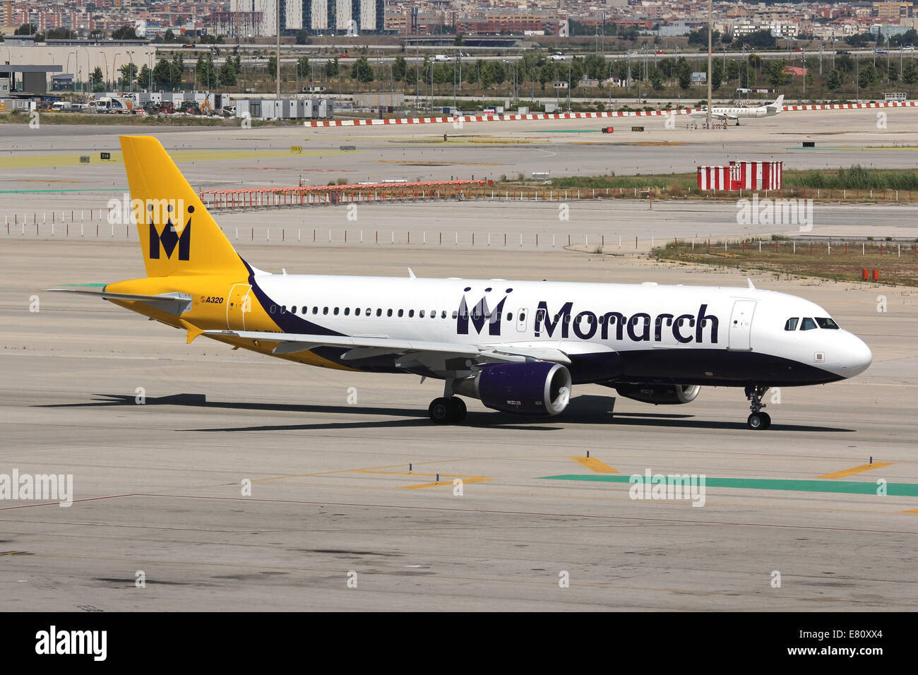Monarch Airlines Airbus A320 at Barcelona airport - Stock Image