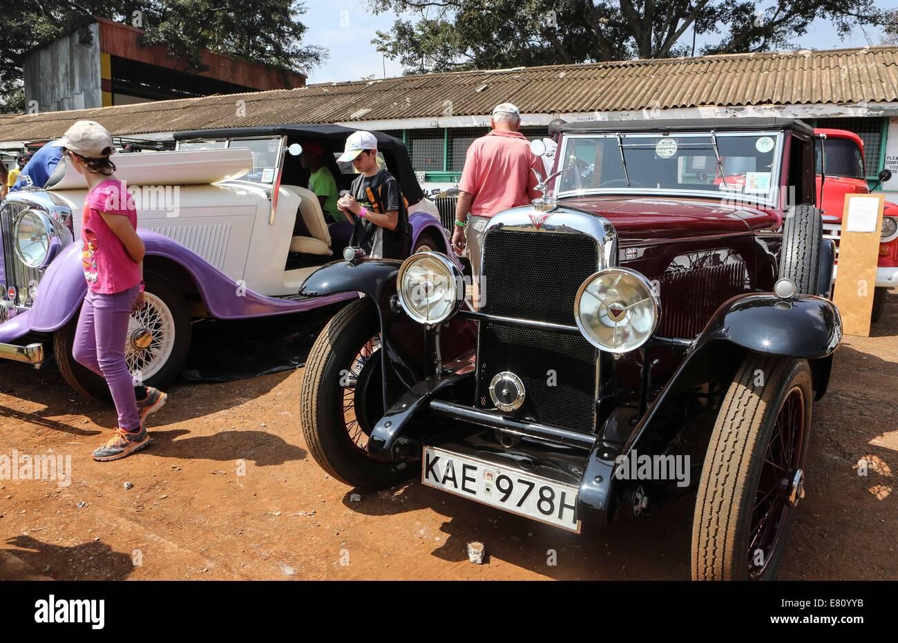 Nairobi, Kenya. 28th Sep, 2014. Visitors admire vintage cars during ...