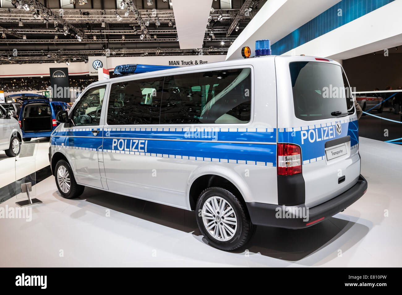 New VW Transporter Polizei edition at the 65th IAA Commercial Vehicles fair 2014 in Hannover, Germany - Stock Image