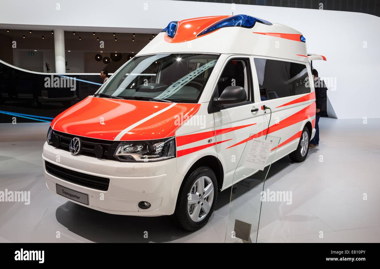New VW Transporter ambulance edition at the 65th IAA Commercial Vehicles fair 2014 in Hannover, Germany - Stock Image