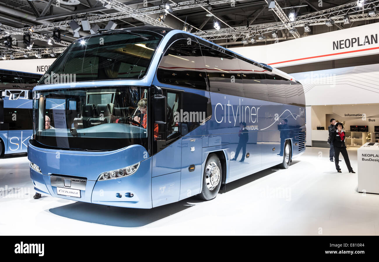 Neoplan Cityliner Bus at the 65th IAA Commercial Vehicles Fair 2014 in Hannover, Germany - Stock Image