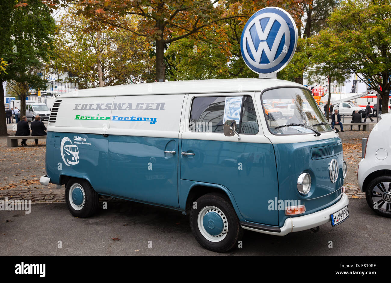 Historic VW T2 from 1971 at the 65th IAA Commercial Vehicles fair 2014 in Hannover, Germany - Stock Image