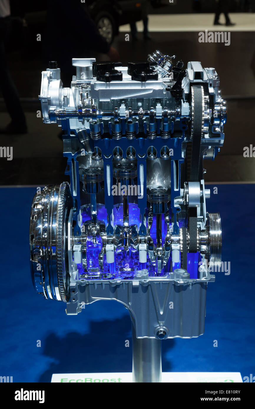 Ford Ecoboost three cylinder engine at the 65th IAA Commercial Vehicles Fair 2014 in Hannover, Germany - Stock Image
