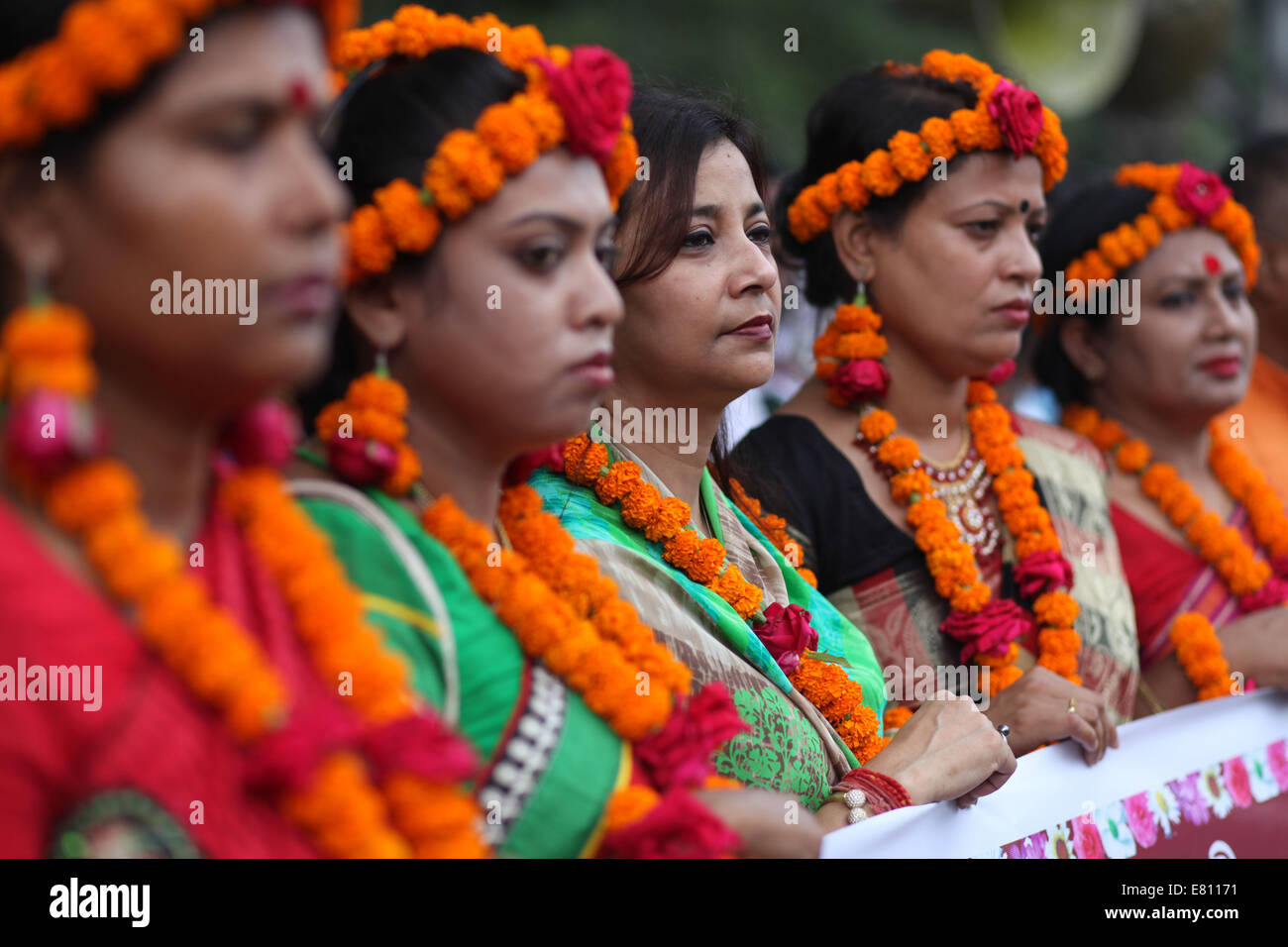 Dhaka, Bangladesh. 28th Sep, 2014. Bangabondhu Shangskritik Jot organise a rally in front of press club to celebration - Stock Image