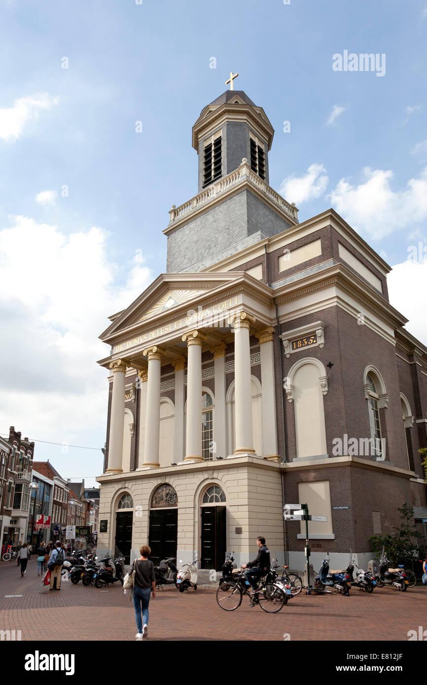 Hartebrugkerk in de Haarlemmerstraat in the city of Leiden, Netherlands - Stock Image