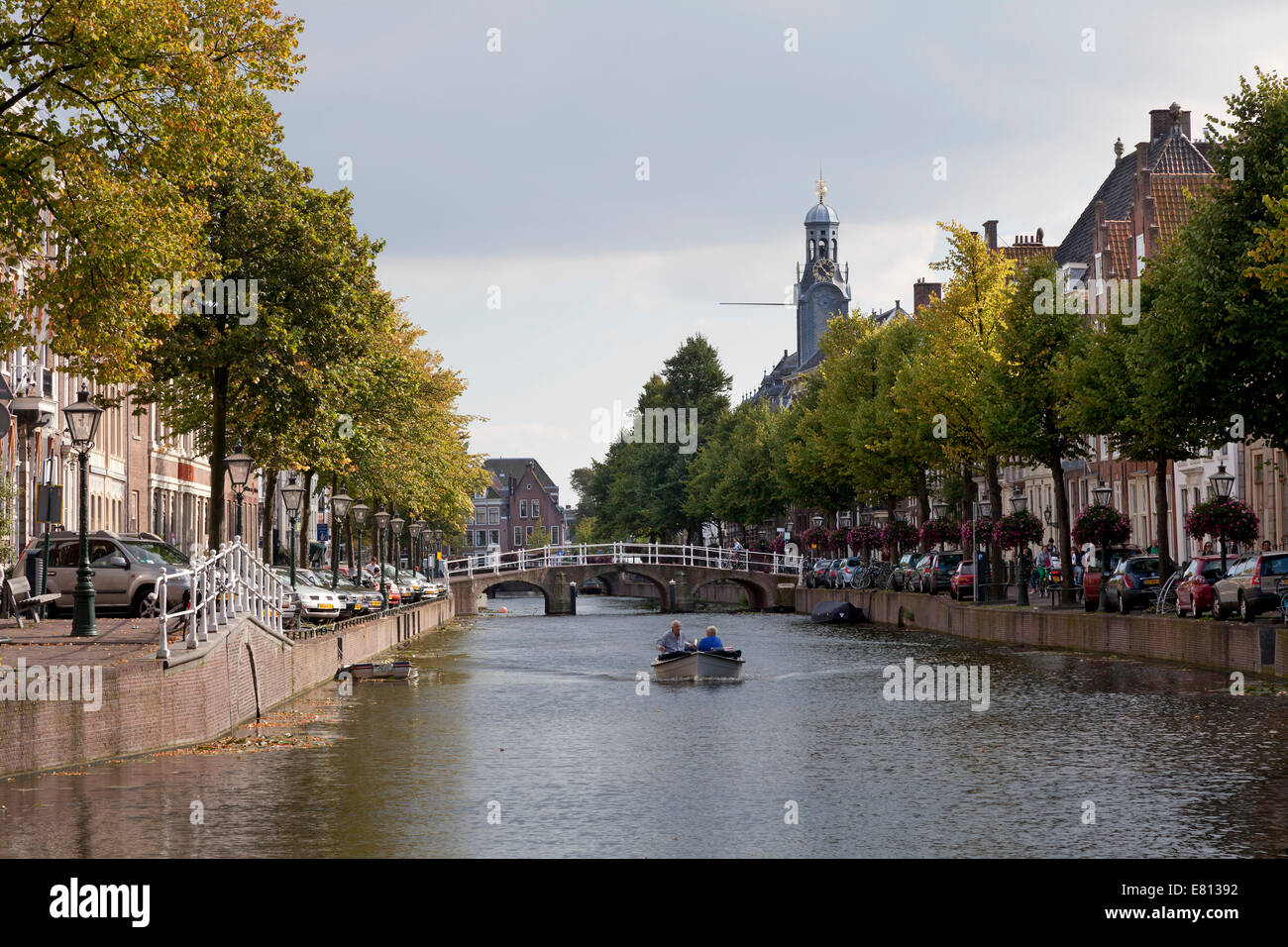 Boating on Canal Rapenburg in the city of Leiden, Netherlands - Stock Image