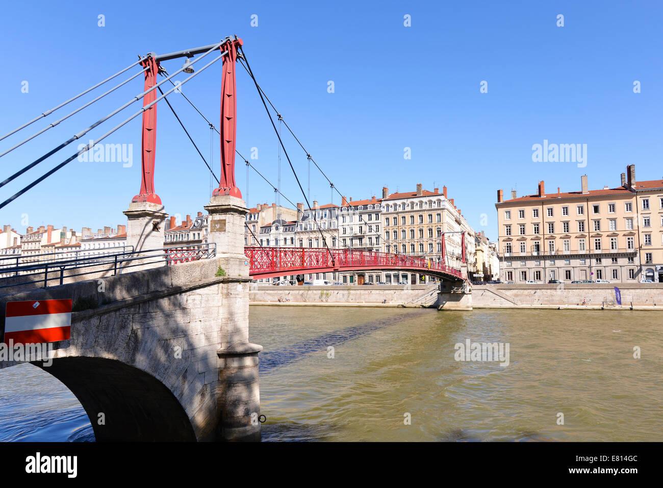 Pedestrian foot bridge over the Rhone in Lyon, France - Stock Image