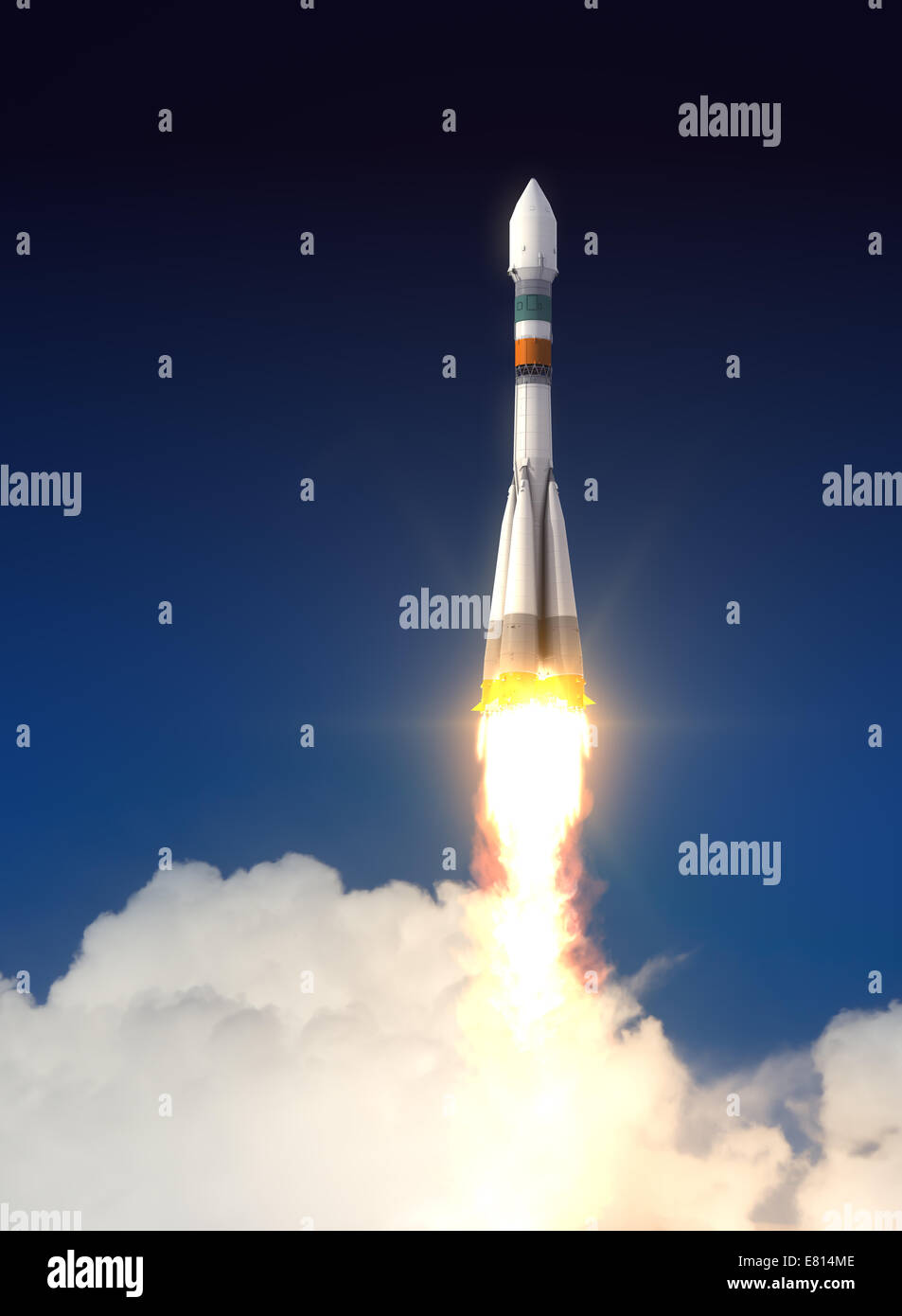 Carrier Rocket Soyuz-Fregat Takes Off. 3D Scene. - Stock Image