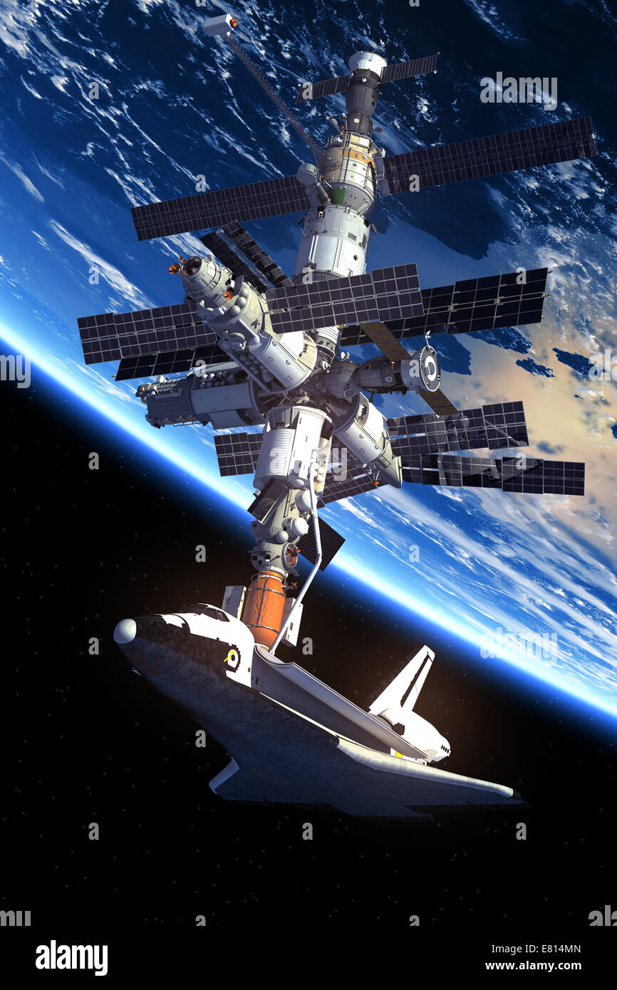 Space Shuttle And Space Station Orbiting Earth. 3D Scene. - Stock Image