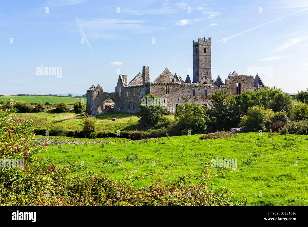 Quin Abbey, near Ennis, County Clare, Republic of Ireland - Stock Image