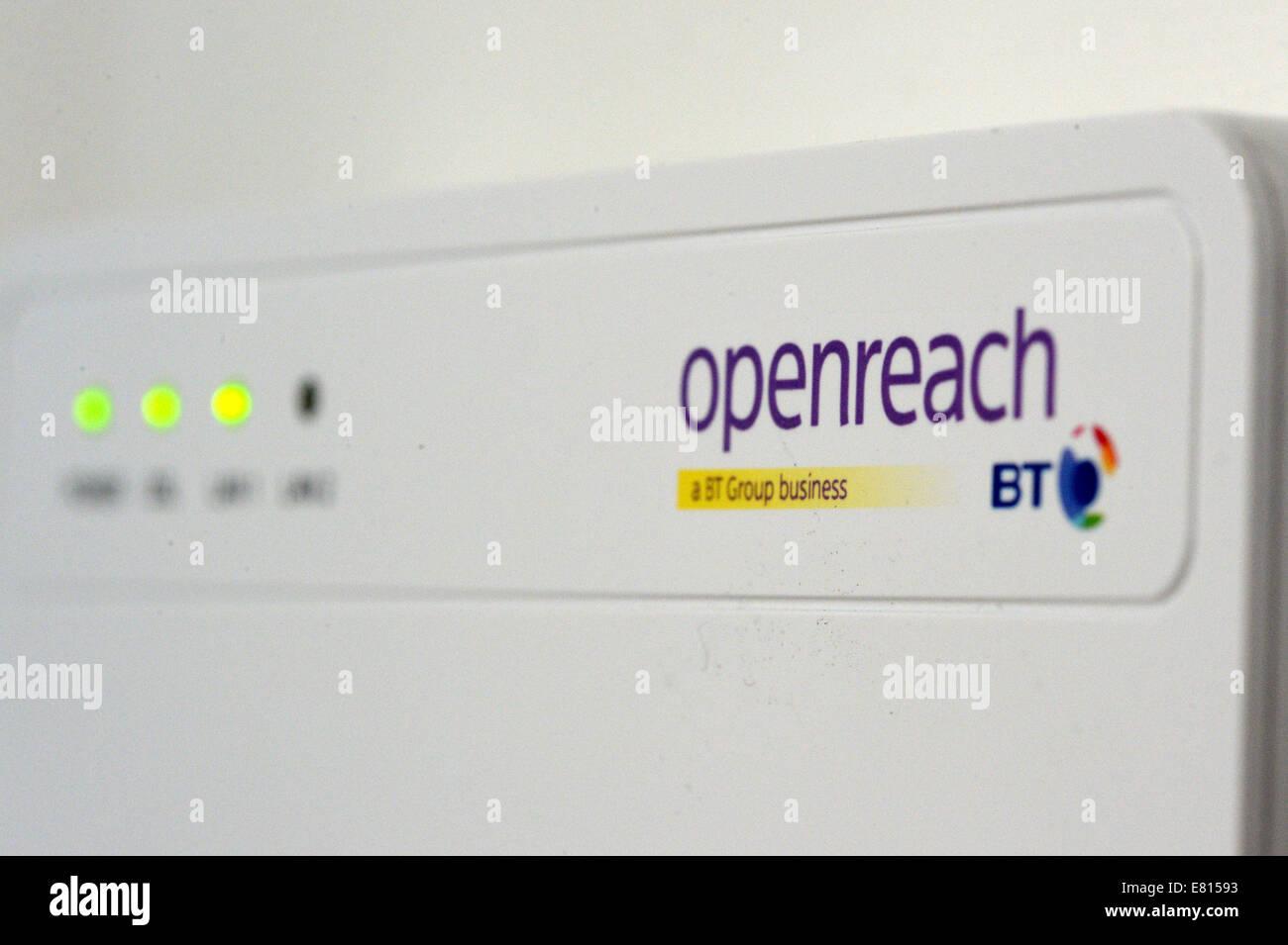 BT fibre broadband, open reach wall box, uk home. - Stock Image