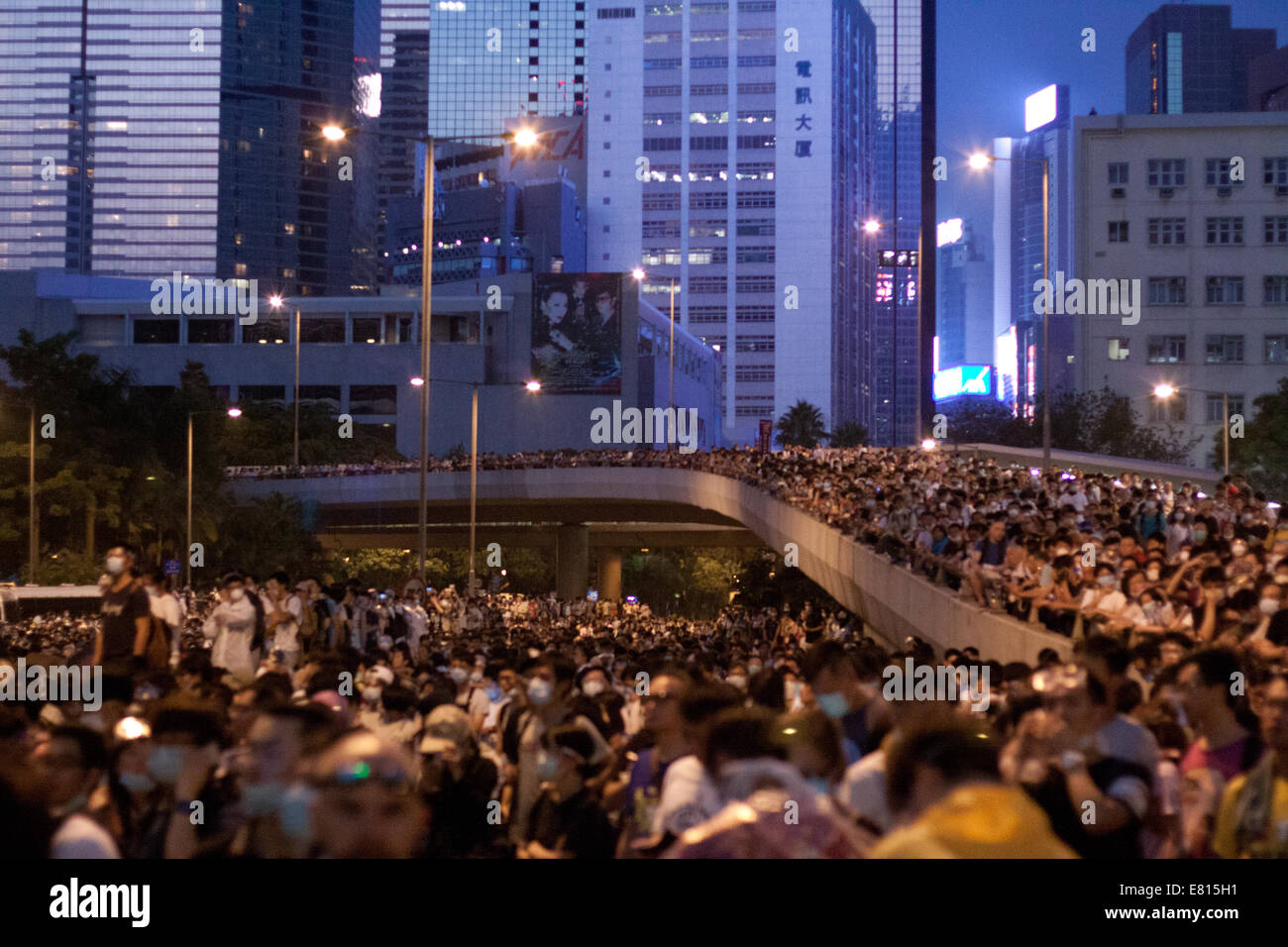 Hong Kong. 28th Sep, 2014. Crowds of people at the Occupy Central protests, Hong Kong, China.   Protests against Stock Photo