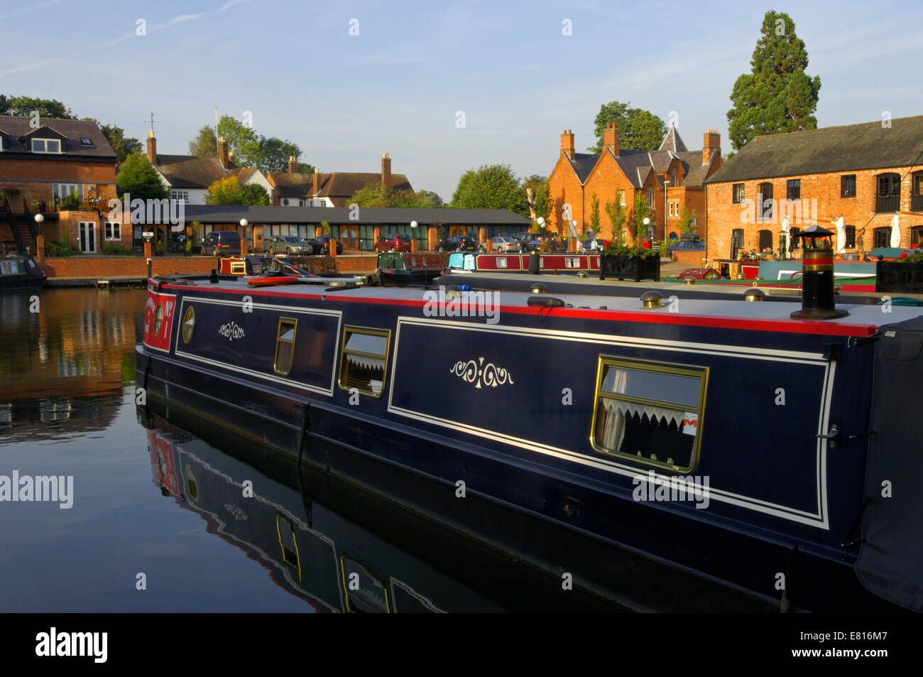 The Union Wharf canal basin in Market Harborough, Leicestershire, England - Stock Image