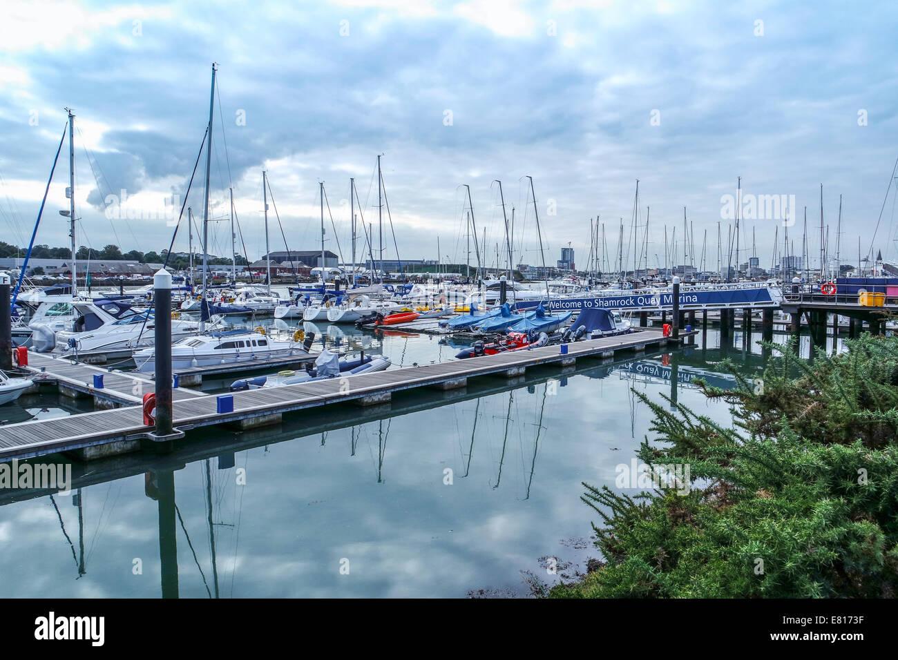 A view of Shamrock Quay Marina, Southampton - Stock Image