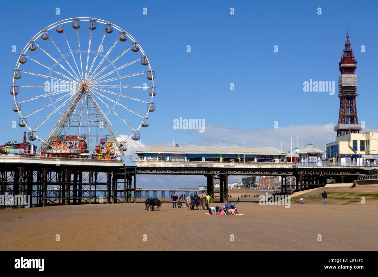 The Central Pier and tower in Blackpool - Stock Image