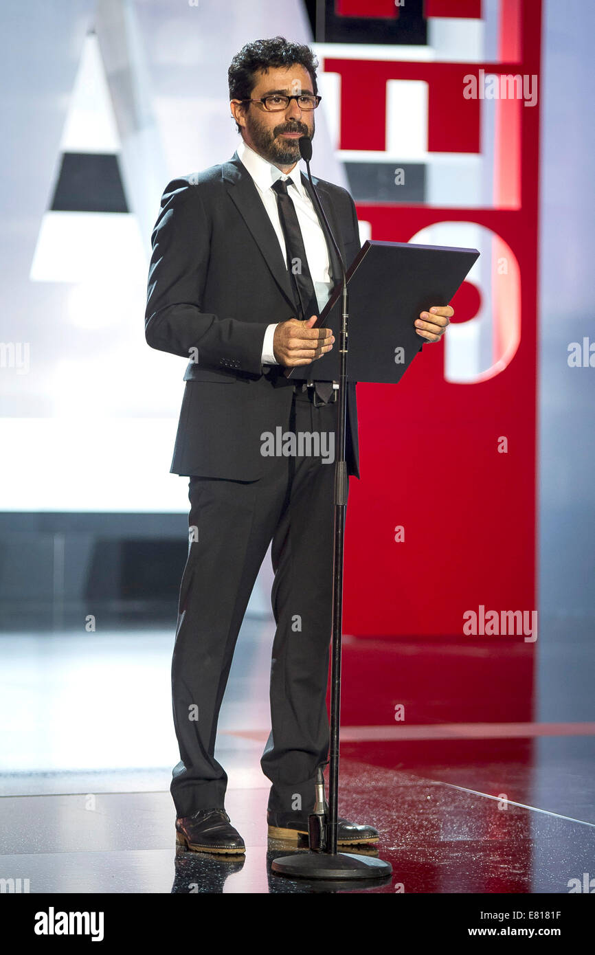 Alex Catalan receives concha de plata for 'Best Photography by the film: 'La Isla Minima' during the - Stock Image