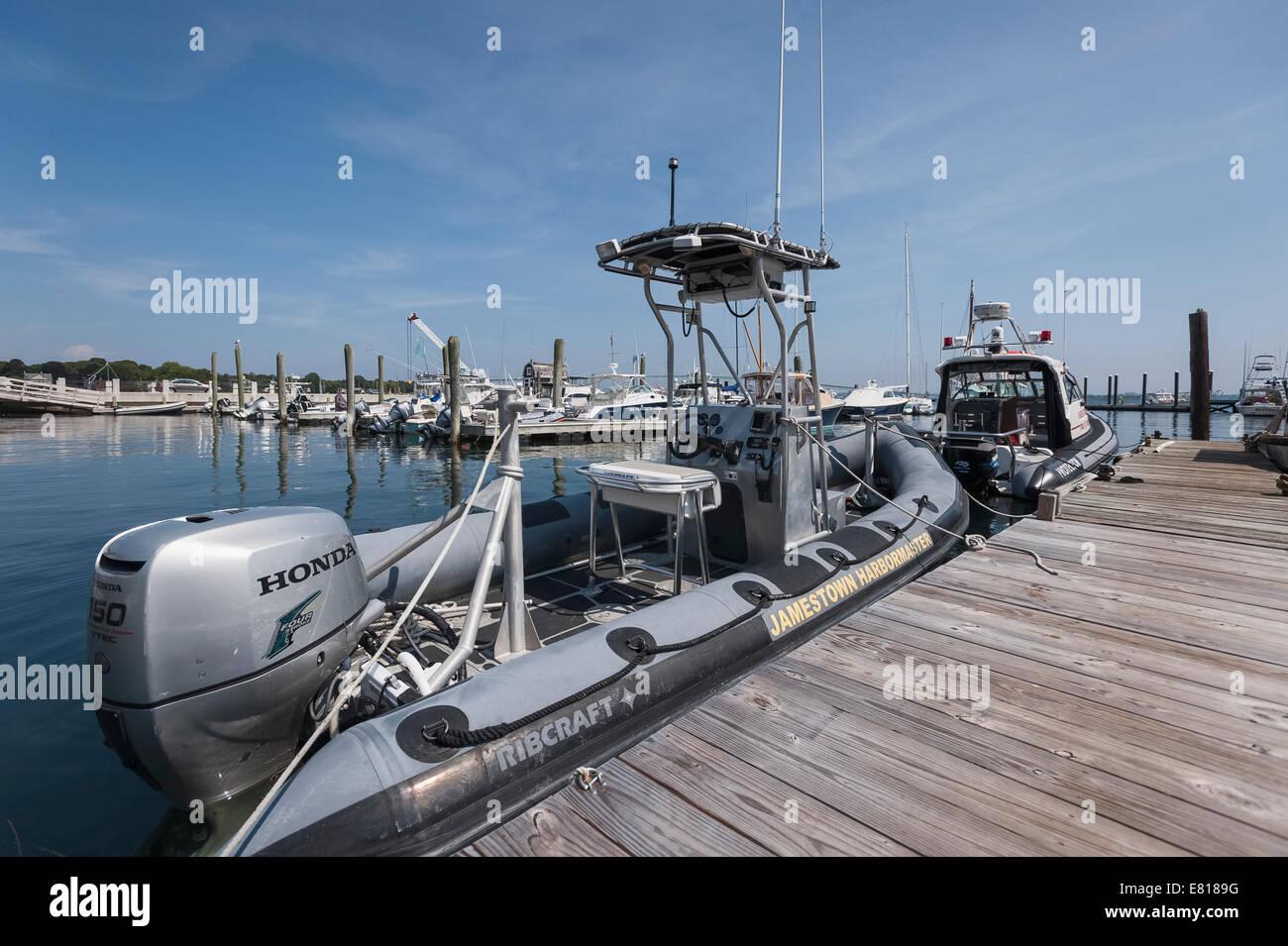 Jamestown Rhode Island USA Harbormaster moored at dockside. - Stock Image