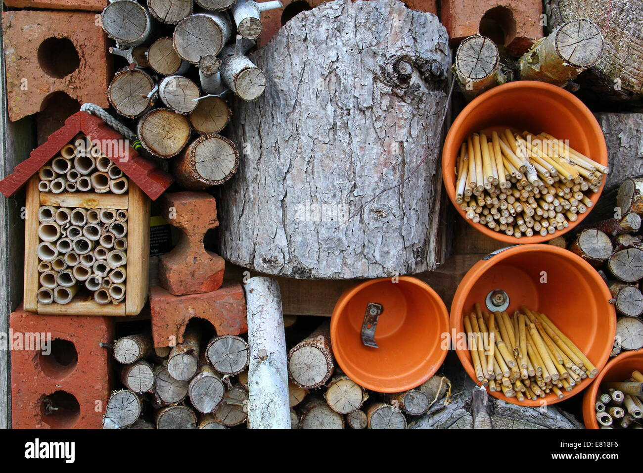 Detail of an insect hotel (wildlife stack) featuring bricks, bamboo, pots & logs to  encourage insect hibernation - Stock Image