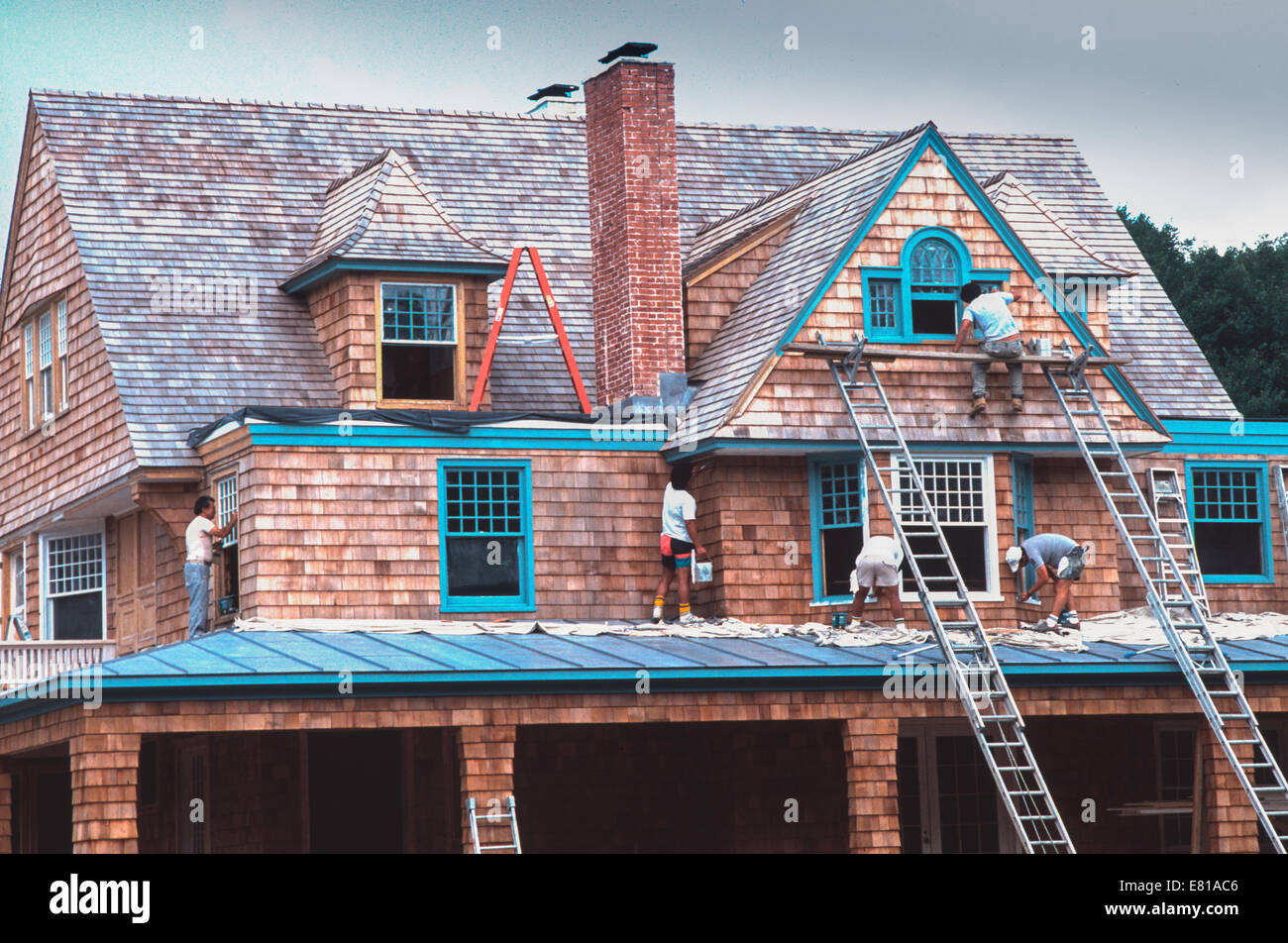 Construction Workers in Long Island, New York - Stock Image