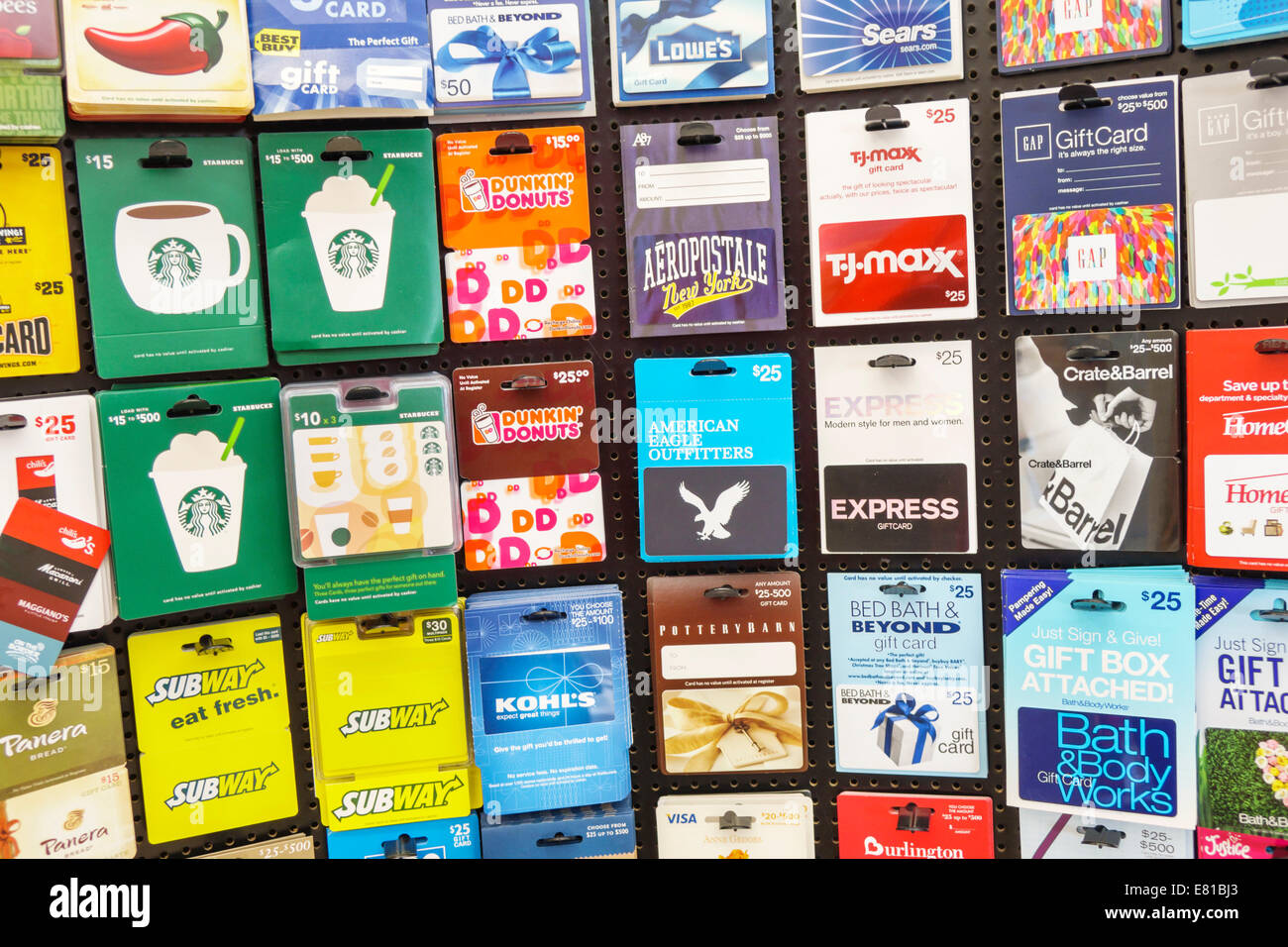 Gift cards stock photos gift cards stock images alamy miami beach florida walgreens sale display organized gift cards starbucks dunkin donuts tj maxx subway negle Gallery