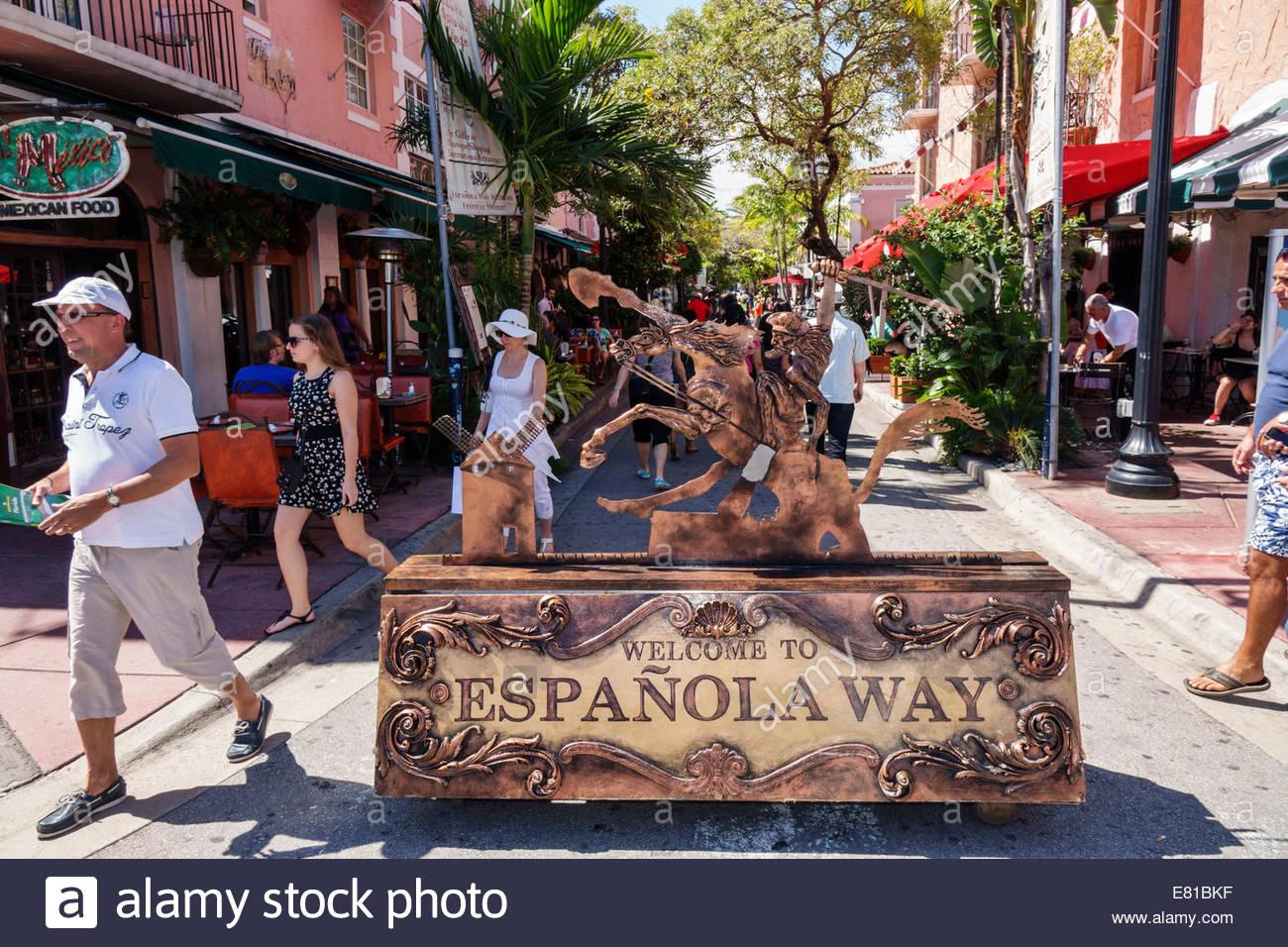 Miami Beach Florida Espanola Way shopping dining entrance welcome - Stock Image